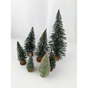 Lot of 7 LEMAX Bottlebrush Evergreen Trees